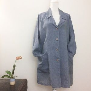 Flax 100% Linen Button Down Minimalist Dress Med